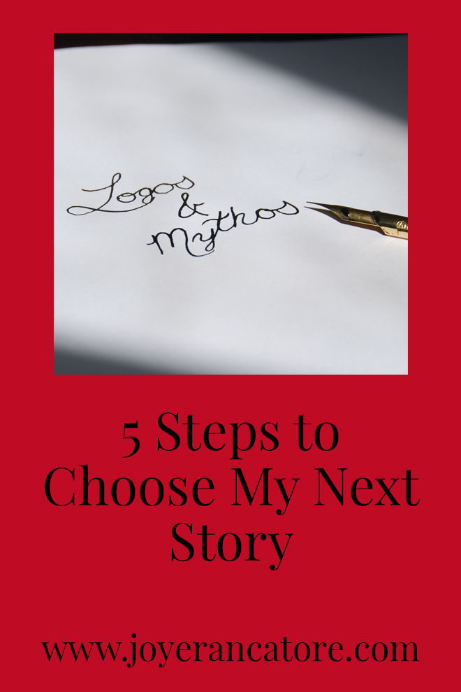 "I'm writing this post to determine my next writing focus, but I sure hope my feeble words help you on your own journey to ""Choose My Next Story"" as well."